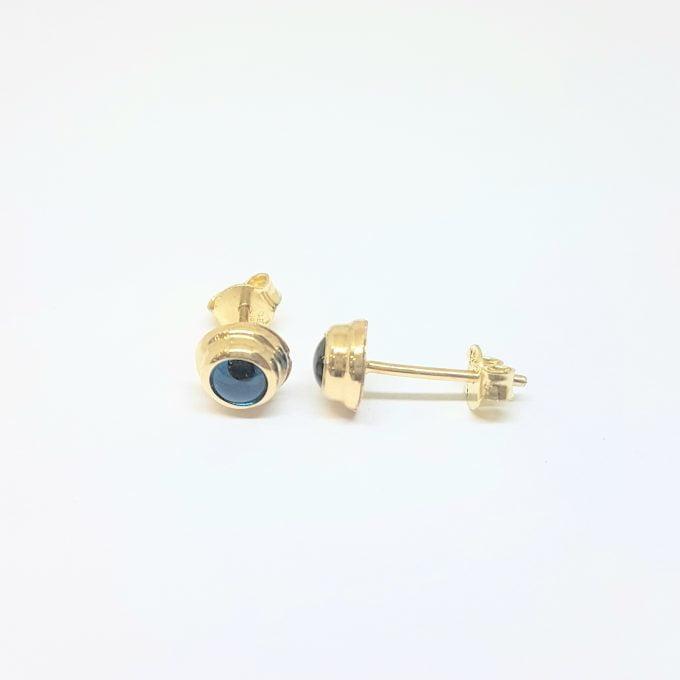 Blue Evil Eye Stud Earrings for Women 14K Real Solid Gold , Greek Evil Eye , Turkish Evil Eye , Nazar Evil Eye , Dainty Tiny Evil Eye