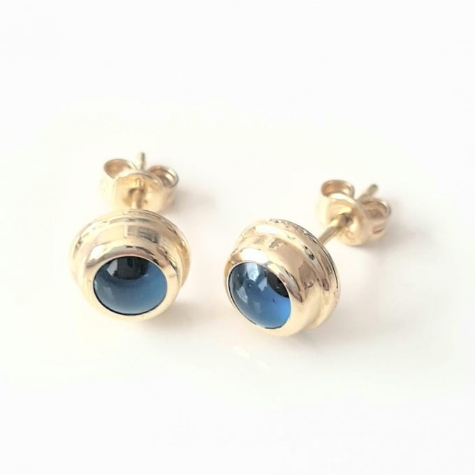 Blue Evil Eye Stud Earrings for Women 14K Real Solid Gold Dainty Tiny Greek Eye Turkish Nazar Protection