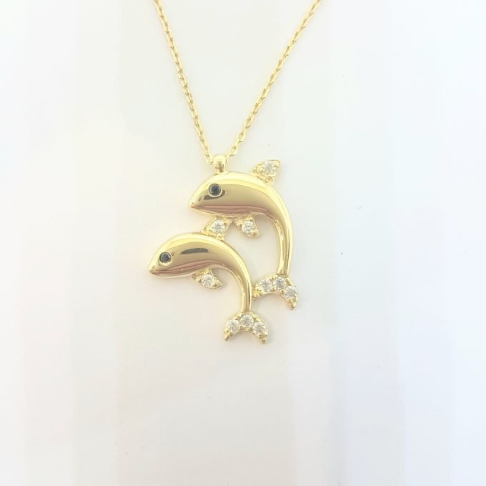 Double Dolphin Pendant Necklace for Women 14k Real Solid Gold Charm Dainty Good Luck
