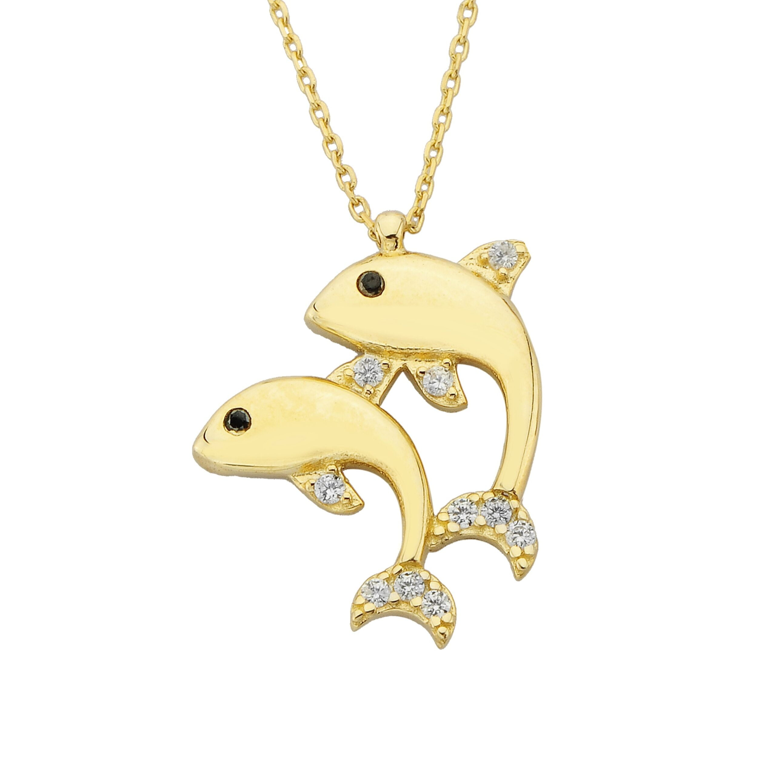 Double Dolphin Pendant Necklace for Women 14k Real Solid Gold | Charm Dainty Good Luck jewelry Birthday Mother's Day Christmas Gift