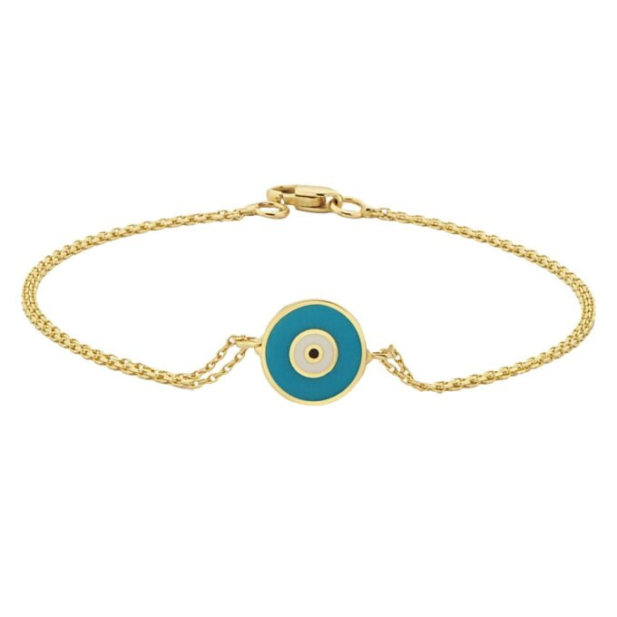 Evil Eye Bracelet Lucky Luck Nazar Protection For Women 14K Yellow Gold Jewelry Turquoise White Navy Blue Turkish Greek handmade jewelry birthday gift for her