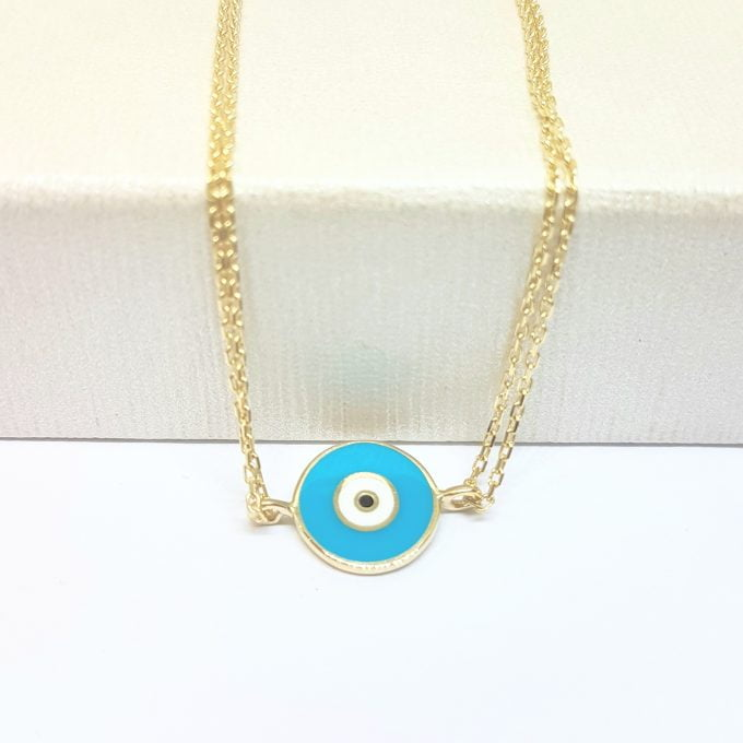 Evil Eye Bracelet Lucky Luck Nazar Protection For Women 14K Yellow Gold Jewelry Turquoise White Navy Blue