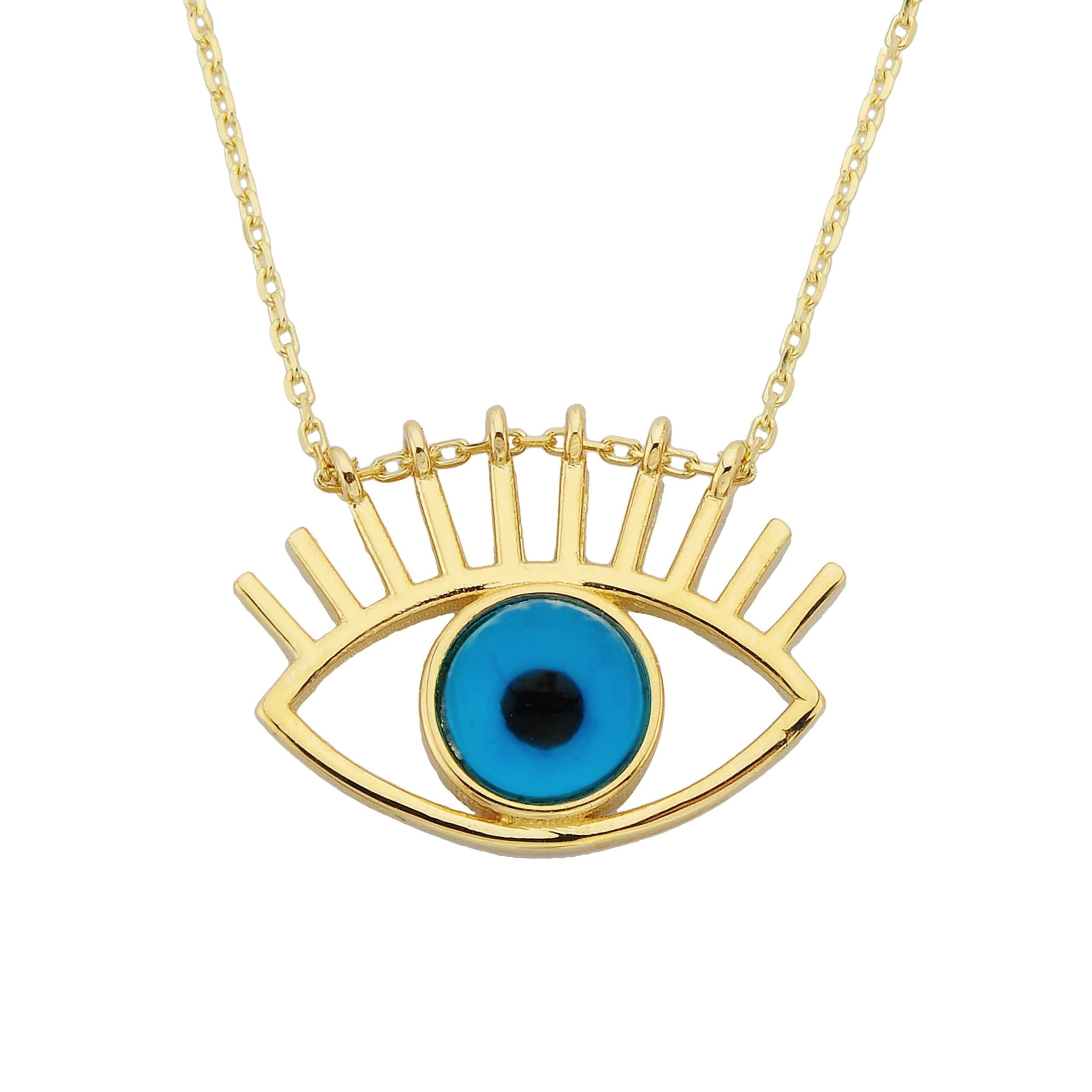 Evil Eye Eyelash Pendant Necklace for Women 14K Real Solid Gold |Lucky Good Luck Nazar Protection Jewelry Birthday Christmas Mother's Day Protection