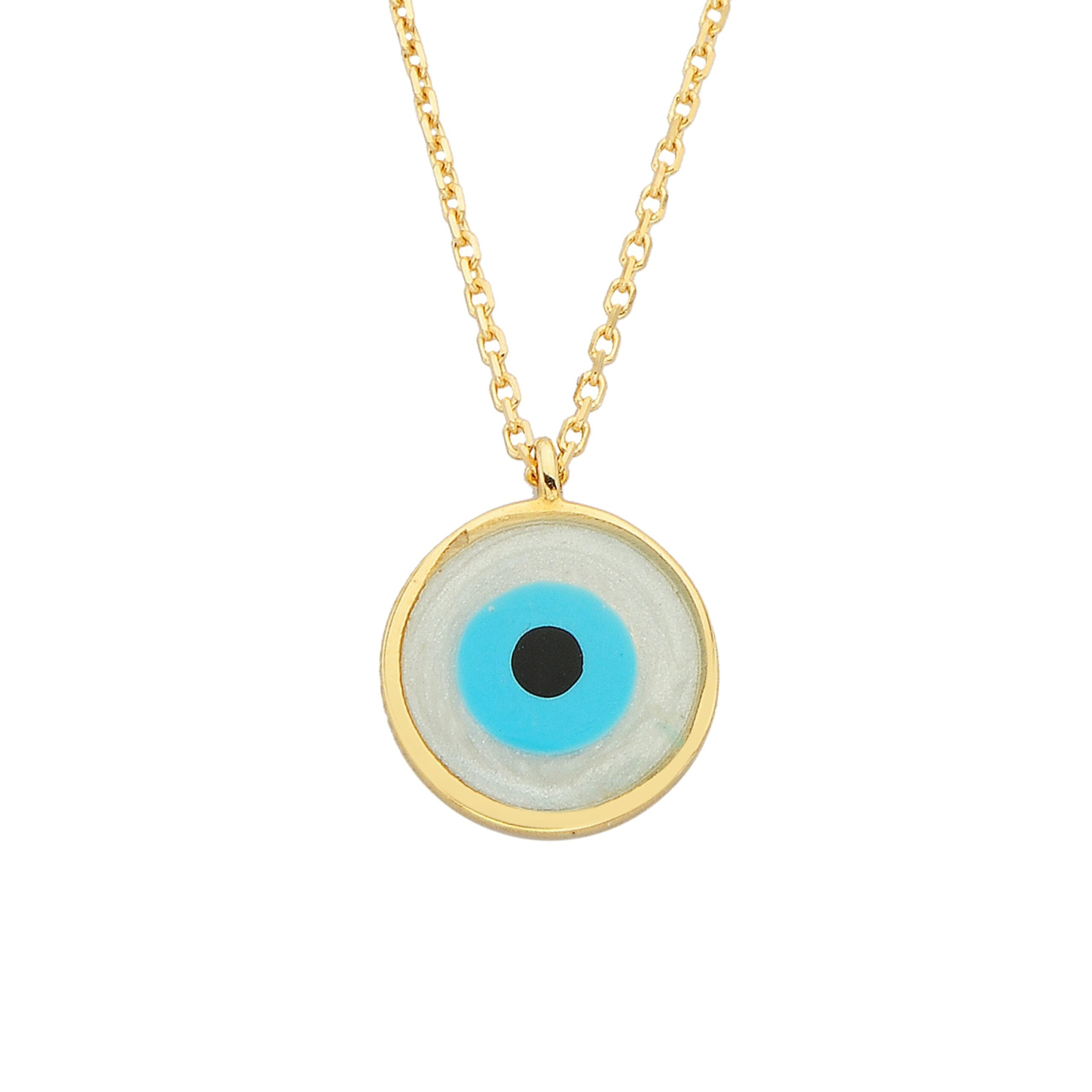 Evil Eye Mother of Pearl Necklace Lucky Luck Nazar Protection For Women 14K Yellow Gold Round Pendant Jewelry Birthday Mother's Day Christmas Gift
