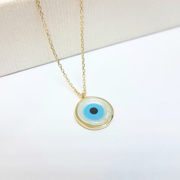 Evil Eye Mother of Pearl Necklace Lucky Luck Nazar Protection For Women 14K Yellow Gold Round Pendant Jewelry