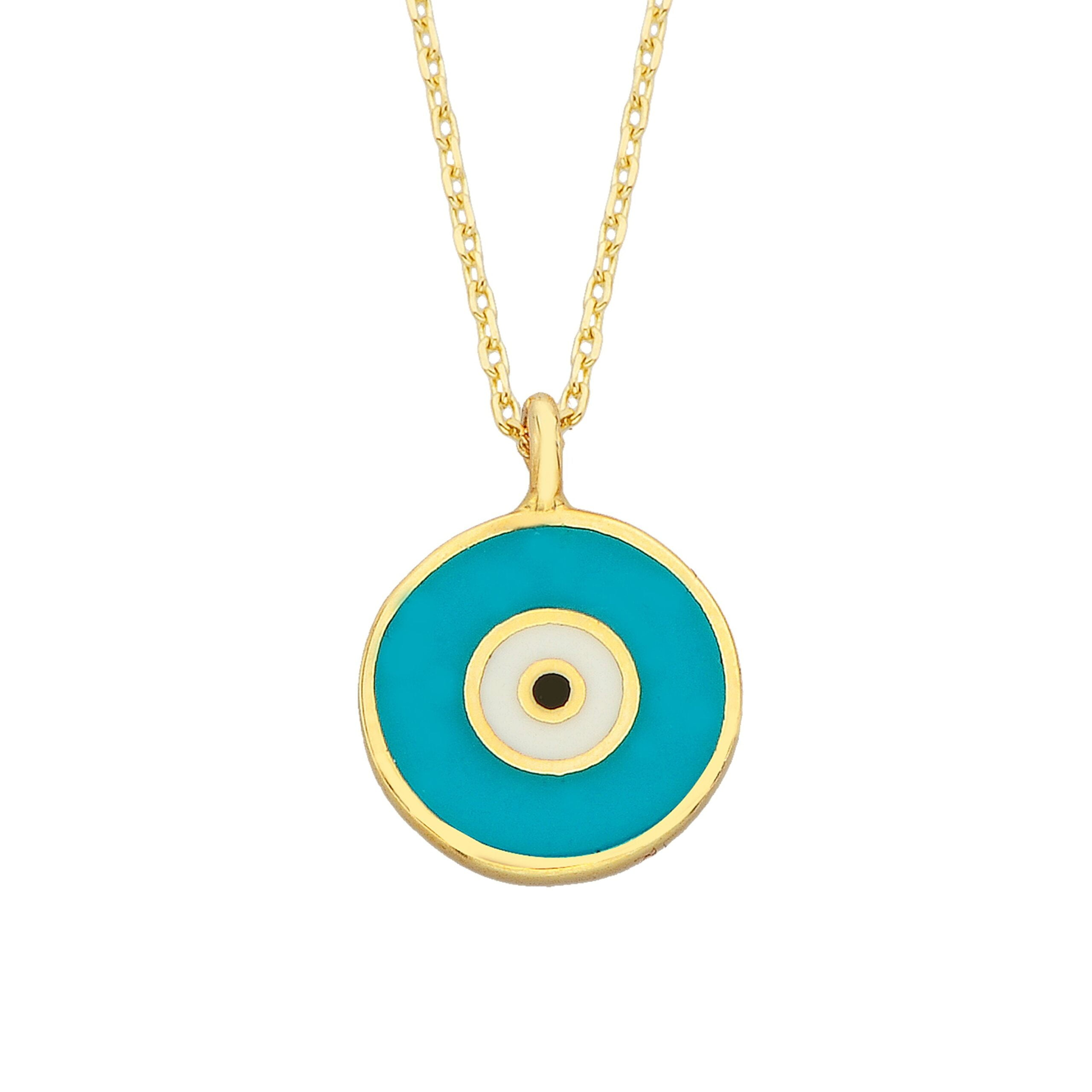 Evil Eye Necklace Lucky Luck Nazar Protection For Women 14K Yellow Gold Pendant Jewelry Turquoise White Navy Blue Birthday Mother's Day Christmas Gift jewelry