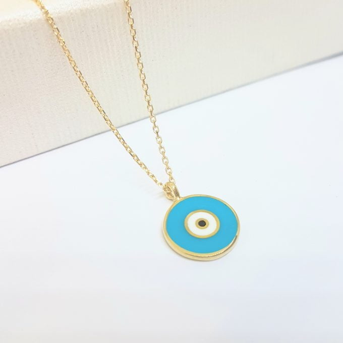 Evil Eye Necklace Lucky Luck Nazar Protection For Women 14K Yellow Gold Pendant Jewelry Turquoise White Navy Blue