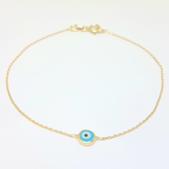 Evil Eye Single Bracelet Lucky Turkey Nazar Protection For Women Jewelry 14K Yellow Gold Tiny Charm Dainty Navy Blue or Turquoise