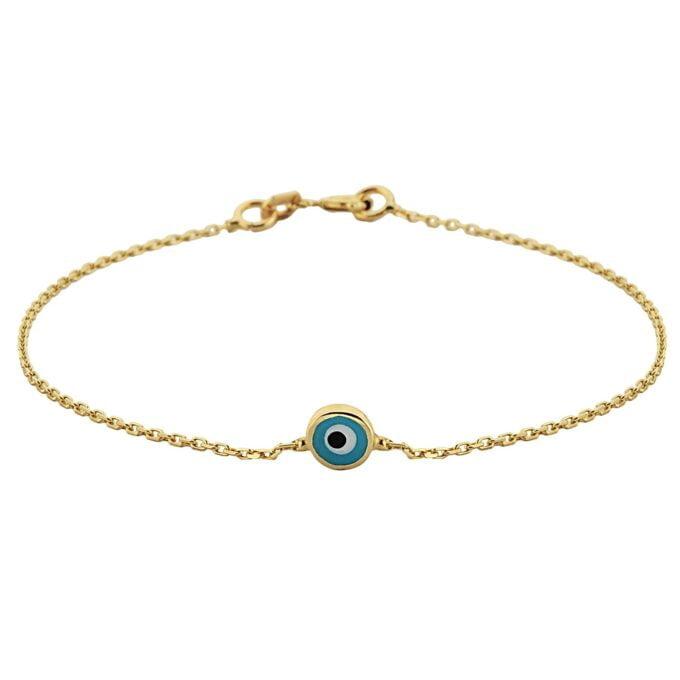Evil Eye Single Bracelet Lucky Turkey Nazar Protection For Women Jewelry 14K Yellow Gold Tiny Charm Dainty Navy Blue or Turquoise jewelry handmade birthday gift turkish evil eye