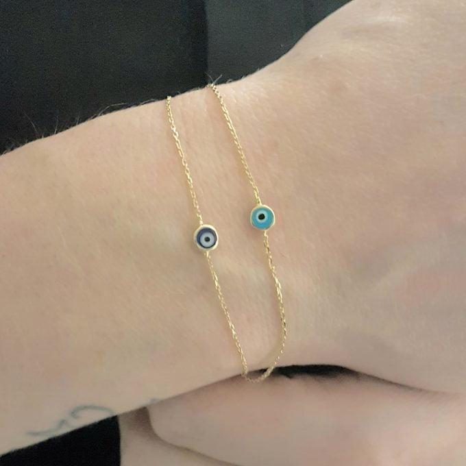 Evil Eye Turquoise Bracelet , Evil Eye Navy Blue Bracelet , Dainty Evil Eye Bracelet , 14K Real Solid