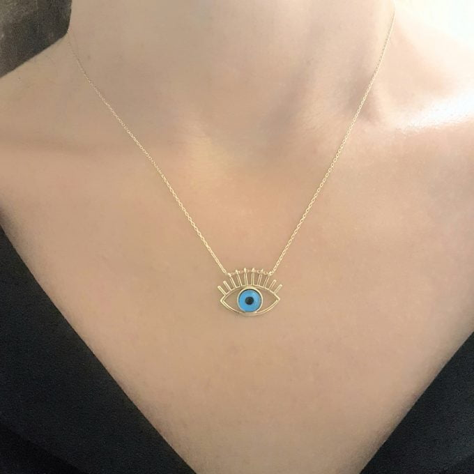 Eye Evil Eyelash Pendant Necklace for Women 14K Real Solid Gold Lucky Good Luck Blue