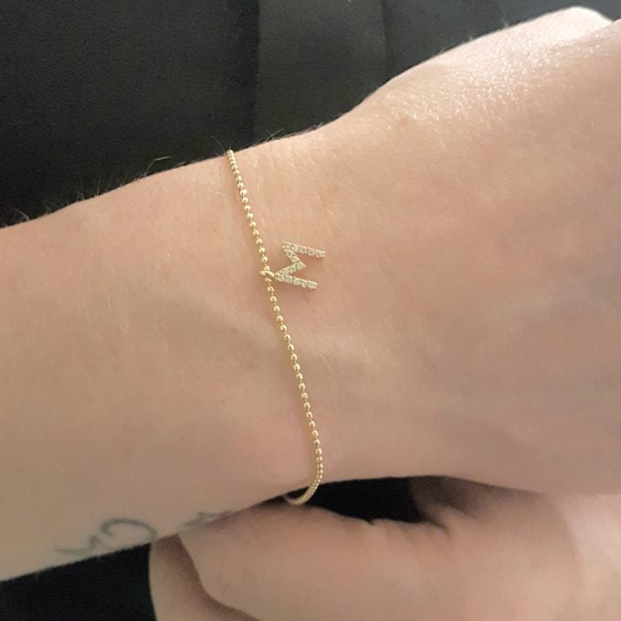 Initial Bracelet for Women A-Z Custom Letters with White Zirconia Stone Adjustable Personalized 14K Real Solid Gold