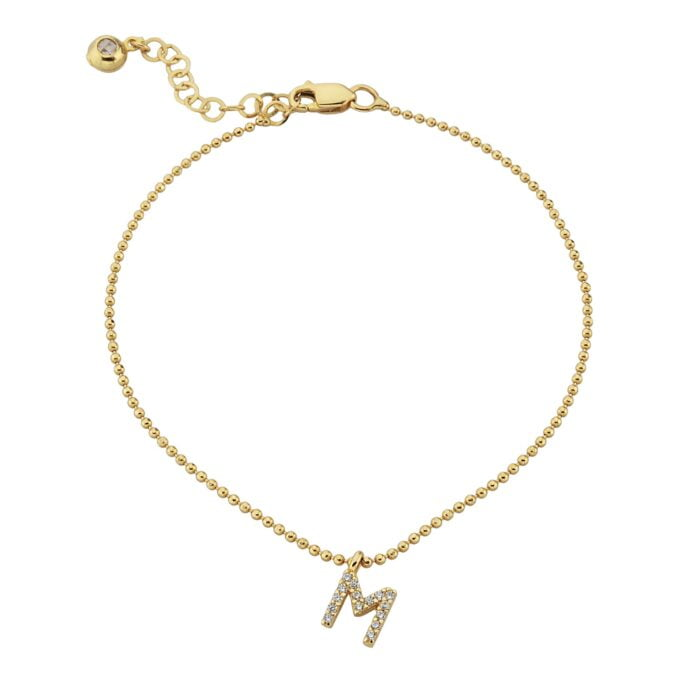 Initial Bracelet for Women A-Z Custom Letters with White Zirconia Stone Adjustable Personalized 14K Real Solid Gold yellow gold chain Alphabet.