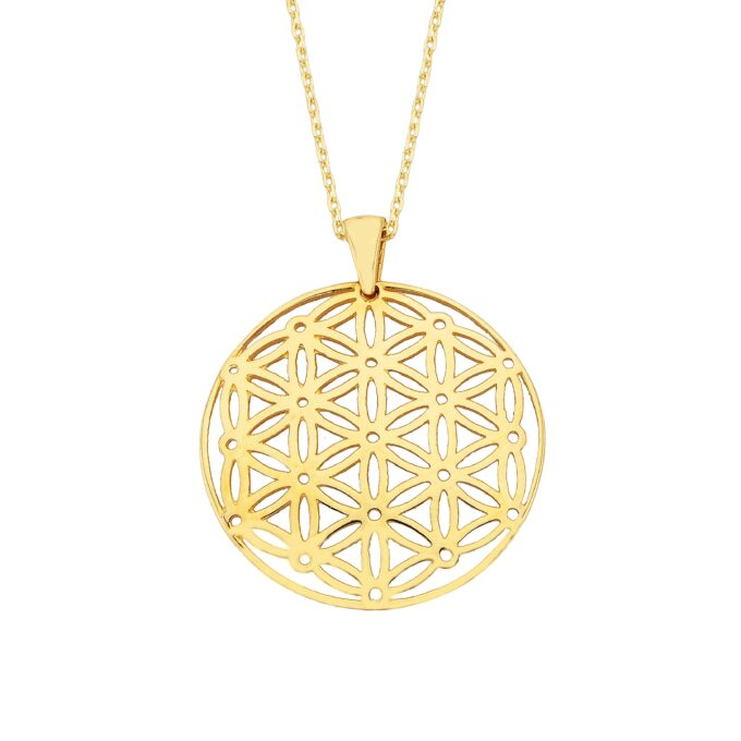 Lotus Flower of Life Pendant Necklace for Women 14K Real Solid Gold Charm Dainty Birthday Christmas Mother's Day Yoga Pilates Ying yang.