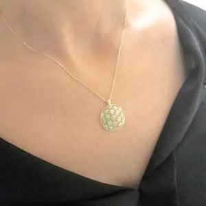 Lotus Flower of Life Pendant Necklace for Women 14K Real Solid Gold Charm Dainty