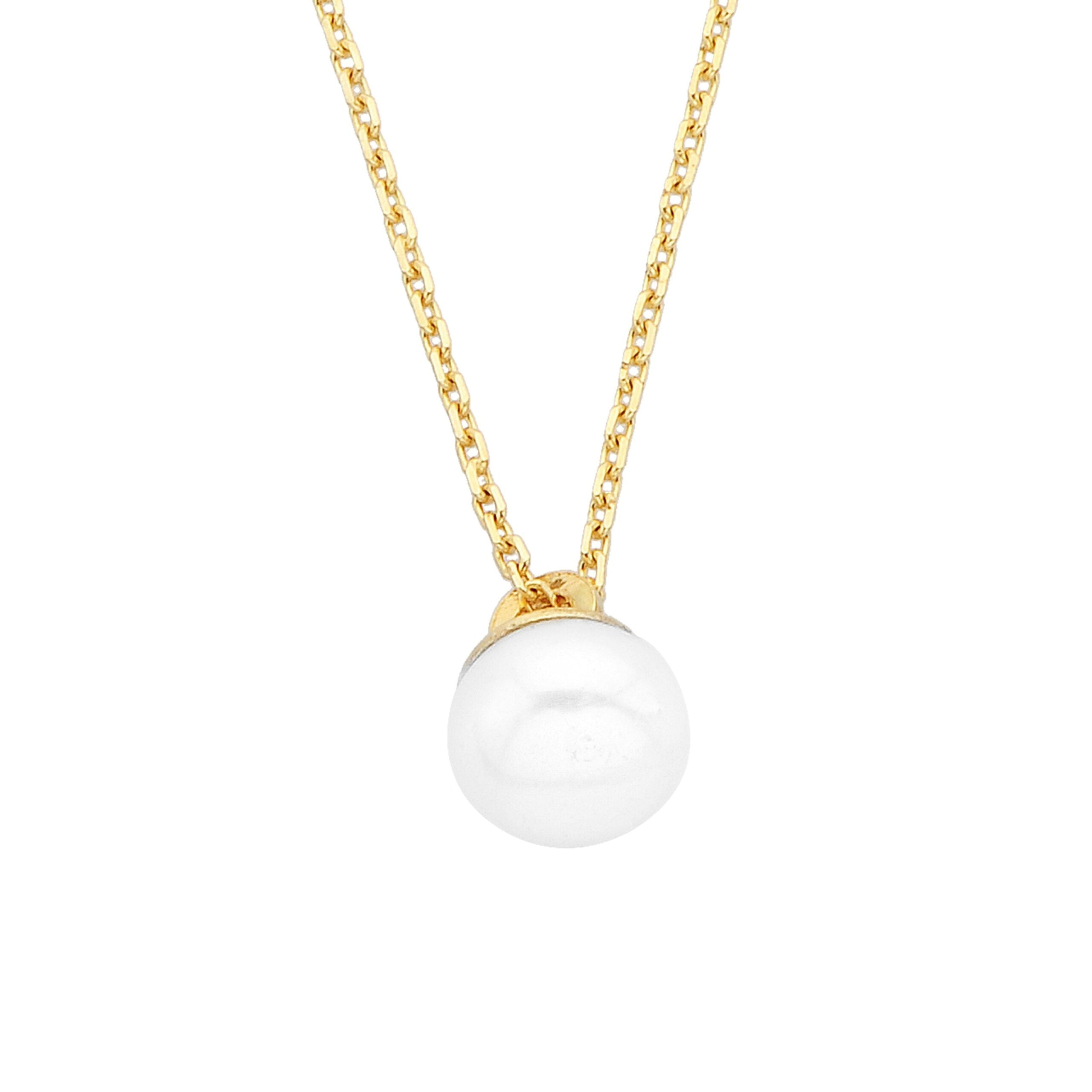 Pearl Pendant Necklace for Women 14K Real Solid Yellow Gold Charm Elegant Single 6mm Birthday Christmas Mother's day gift.jpg