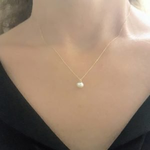 Pearl Pendant Necklace for Women 14K Real Solid Yellow Gold Charm Elegant Single 6mm