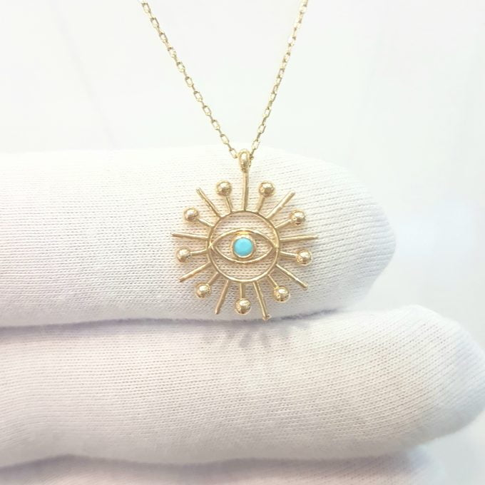 Turquoise Evil Eye Sun Pendant Necklace for Women December Birthstone 14K Real Solid Gold