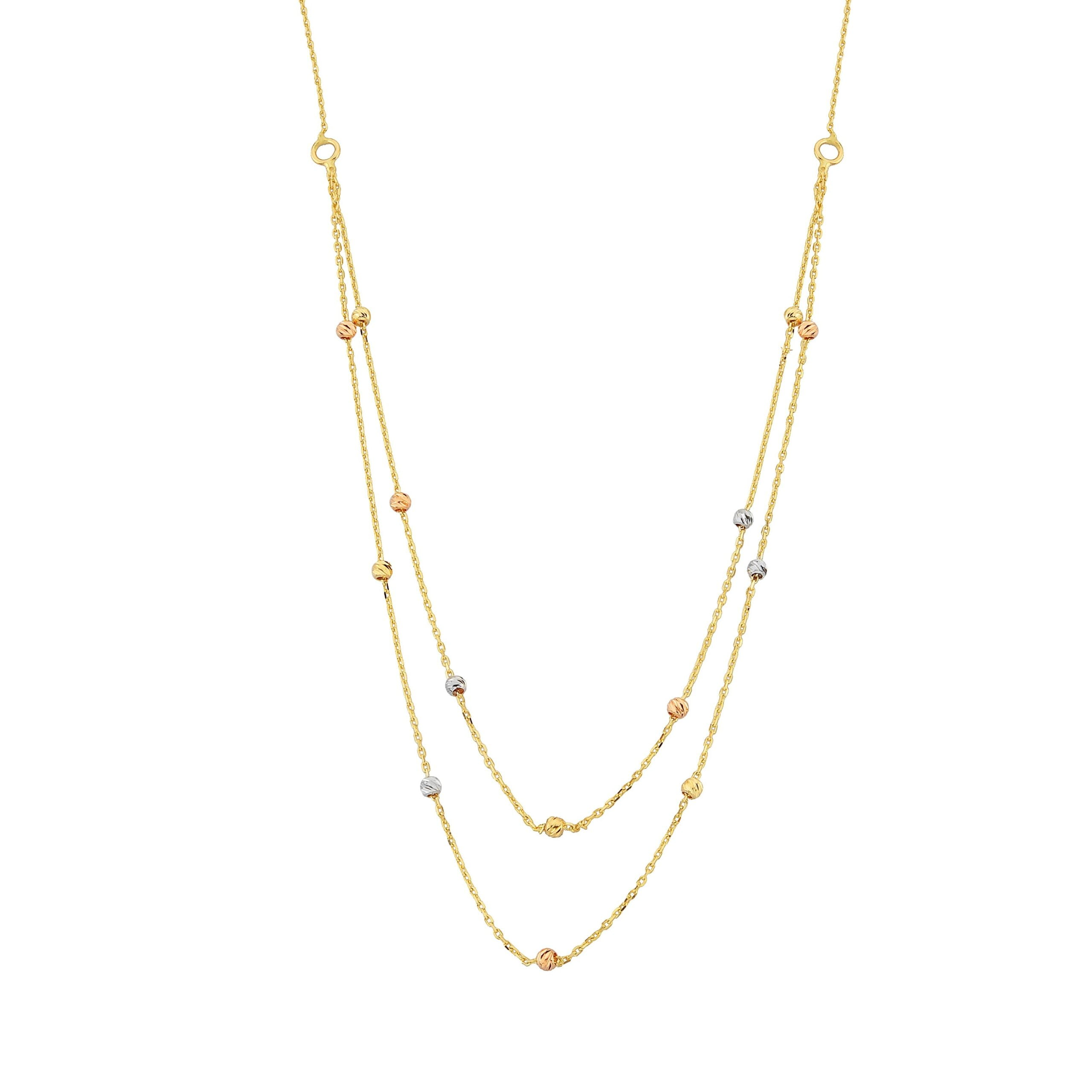 Two Rows Chain Beaded Italian Balls Charm Dainty Delicate Necklace for Women 14K Real Solid Gold Birthday Christmas Mother's Day Gift Jewelry ball layered double