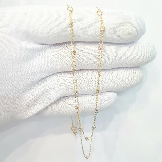 Two Rows Chain Beaded Italian Balls Charm Dainty Delicate Necklace for Women 14K Real Solid Gold