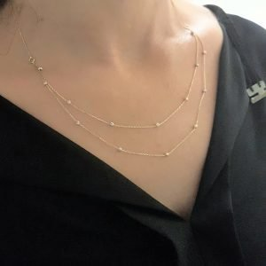 Two Rows Chain Beaded Italian Balls Charm Dainty Delicate Necklace for Women 14K Real Solid Gold double bracelet