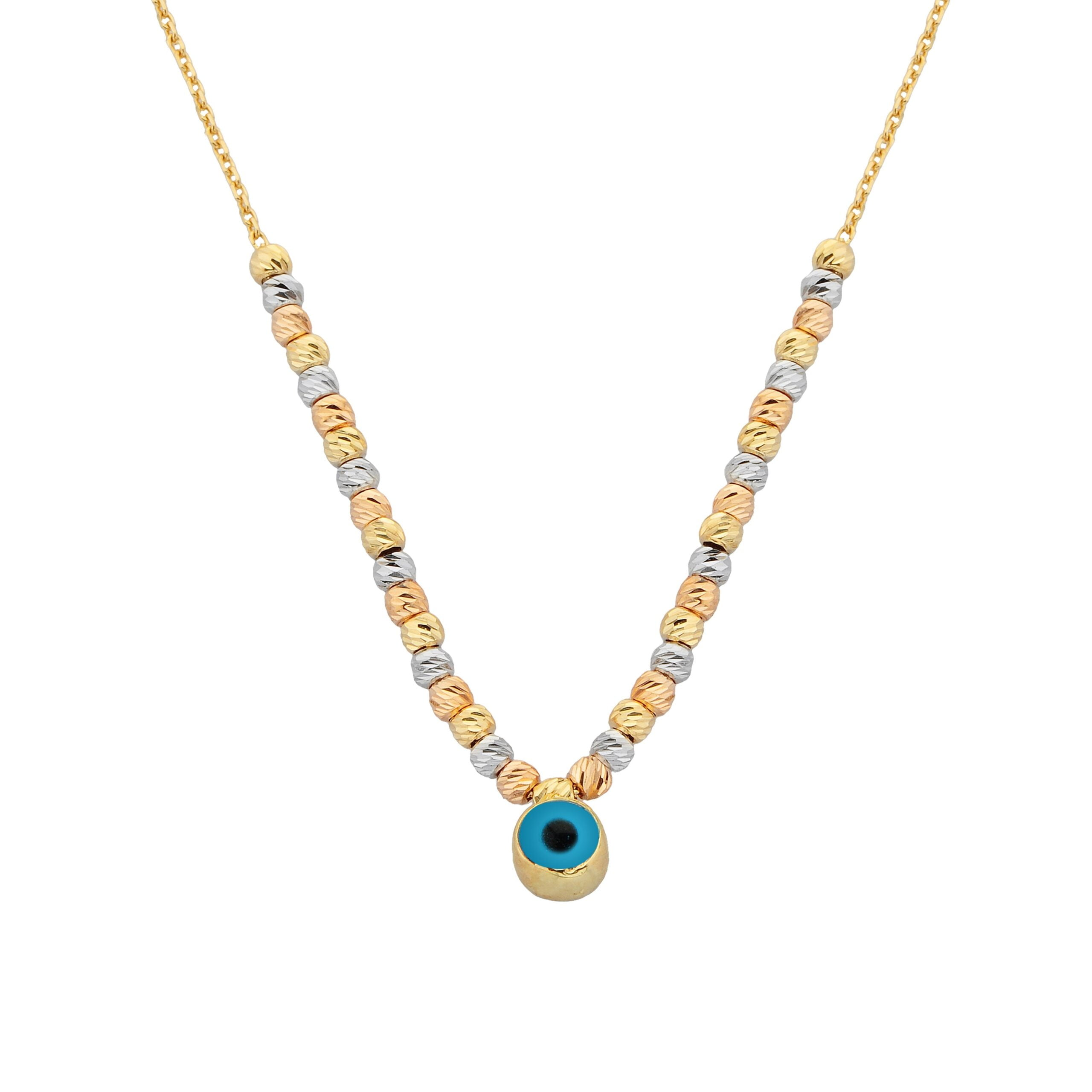 Two Sided Evil Eye with Italian Balls Pendant Necklace for Women 14K Real Solid Gold Birthday Mother's Day Christmas Gift