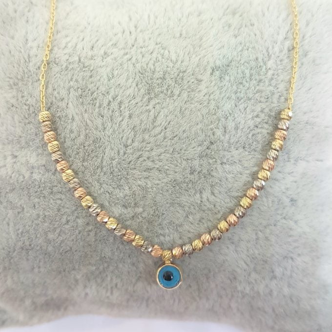 Two Sided Evil Eye with Italian Balls Pendant Necklace for Women 14K Real Solid Gold
