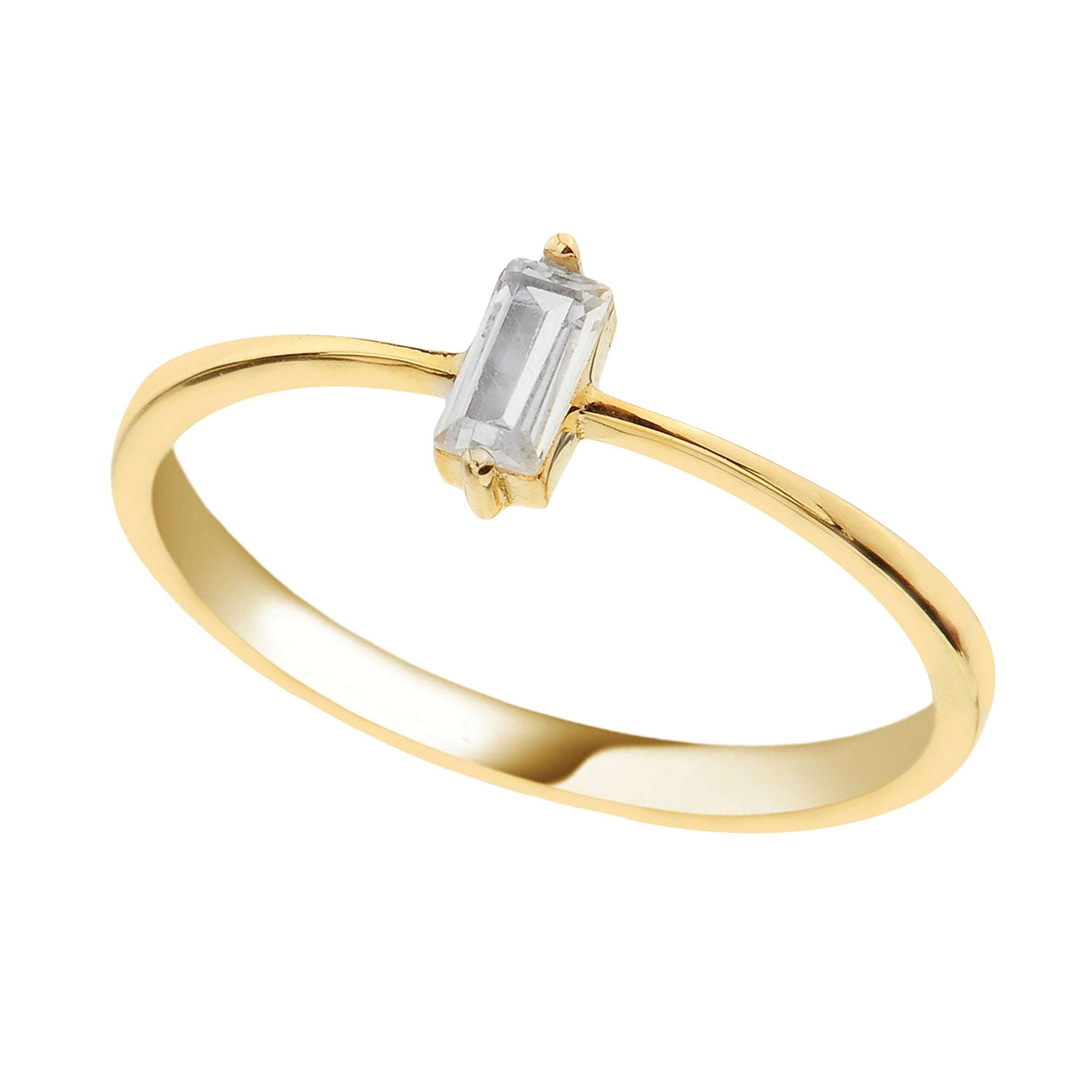14K Real Solid Gold Baguette Ring for Women | CZ Ring handmade jewelry solitaire cubic zirconia birthday gift christmas