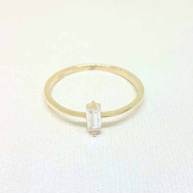 14K Real Solid Gold Baguette Solitaire Ring for Women , Solitaire Ring, Baguette Ring