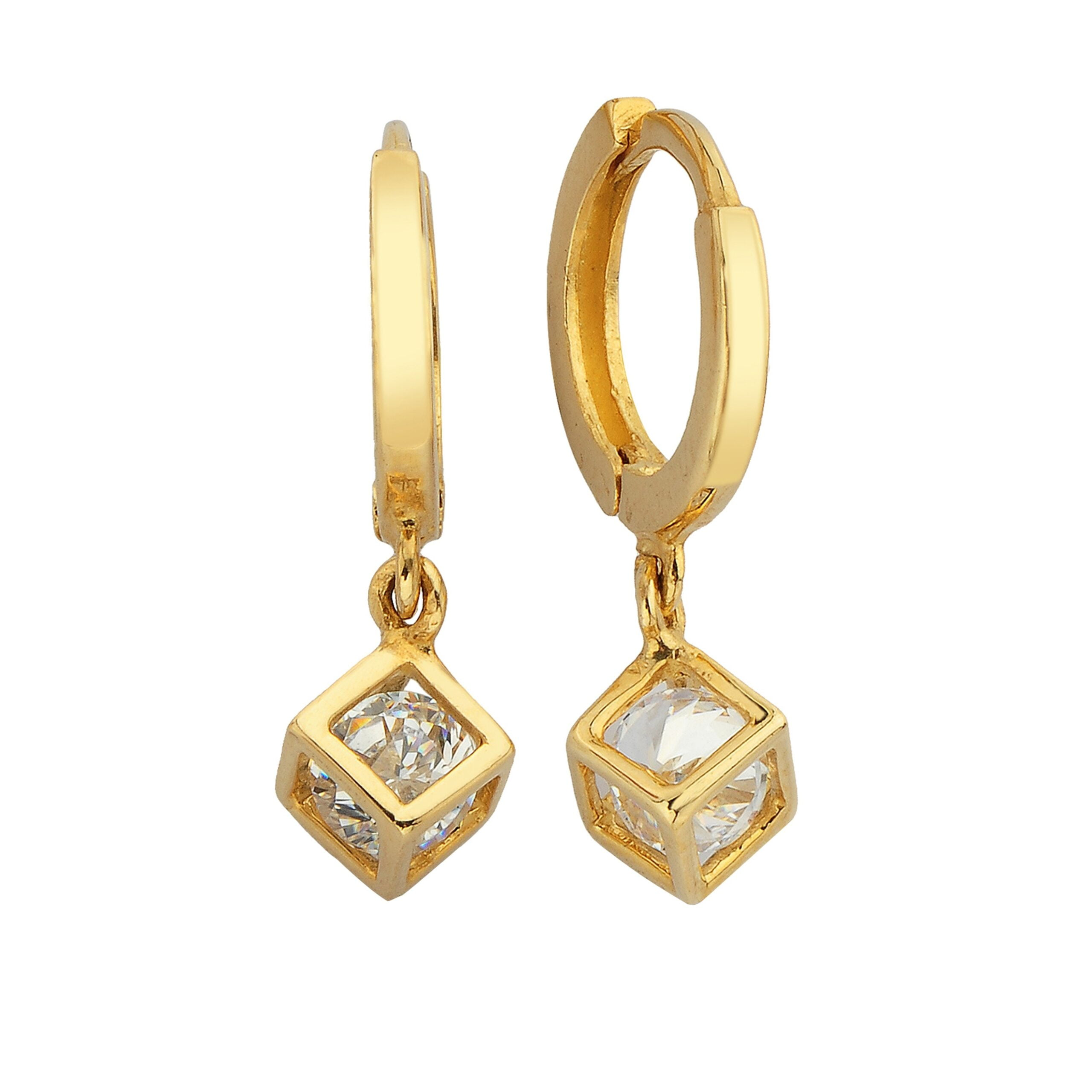 14K Real Solid Gold Cube Dangle Drop Earrings for Women birthday gift handmade jewelry geometric christmas xmas mother idea