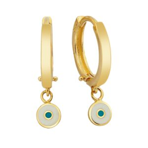 14K Real Solid Gold Evil Eye Drop Dangle Earrings for Women Decorated with White and Blue Enamel handmade luck good luck jewelry birthday gift.