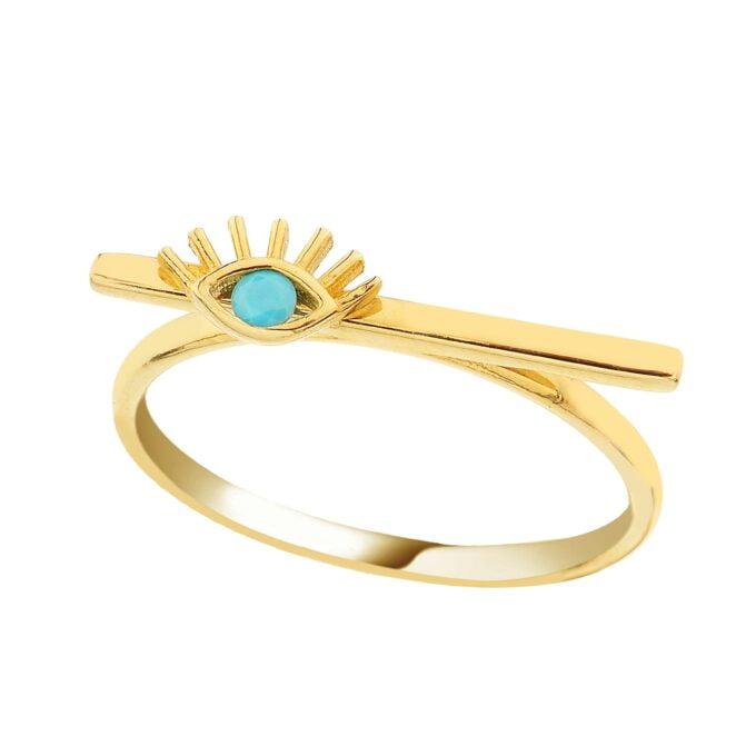 14K Real Solid Gold Eyelash Turquoise Stone on Long Bar Ring for Women | December Birthstone Ring jewelry handmade birthday gift mother's day christmas xmas elegant dainty girl girlfriend
