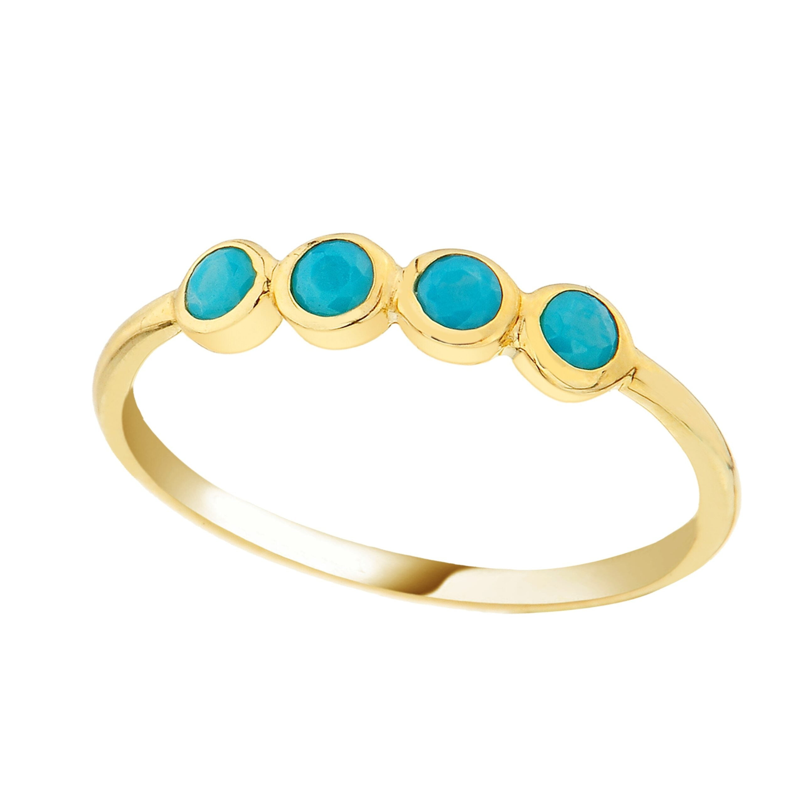14K Real Solid Gold Four Turquoise Ring for Women | December Birthstone Ring jewelry rings birthday gift christmas xmas mother's day handmade