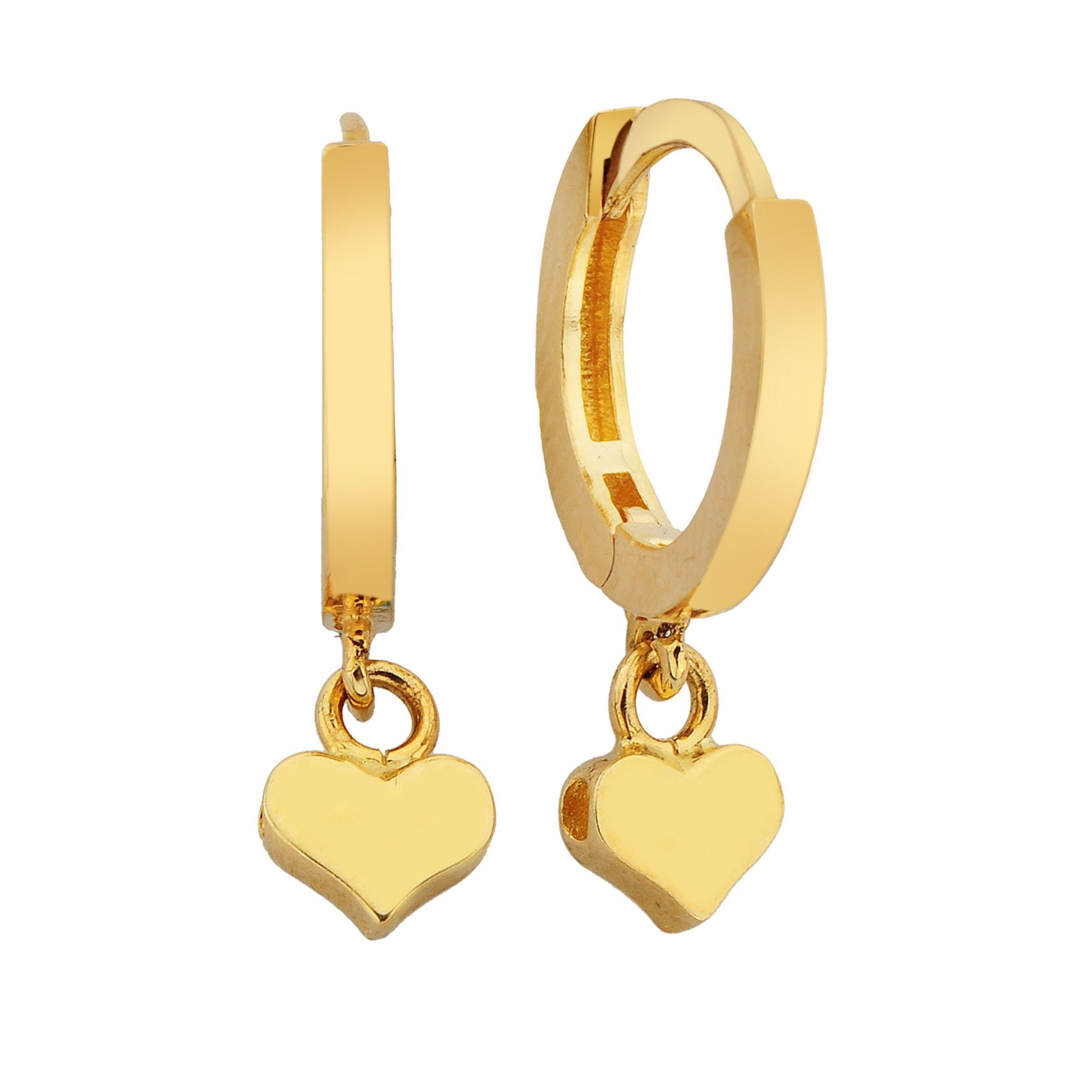 14K Real Solid Gold Heart Dangle Drop Earrings for Women love jewelry forever valentine's day birthday gift xmas christmas