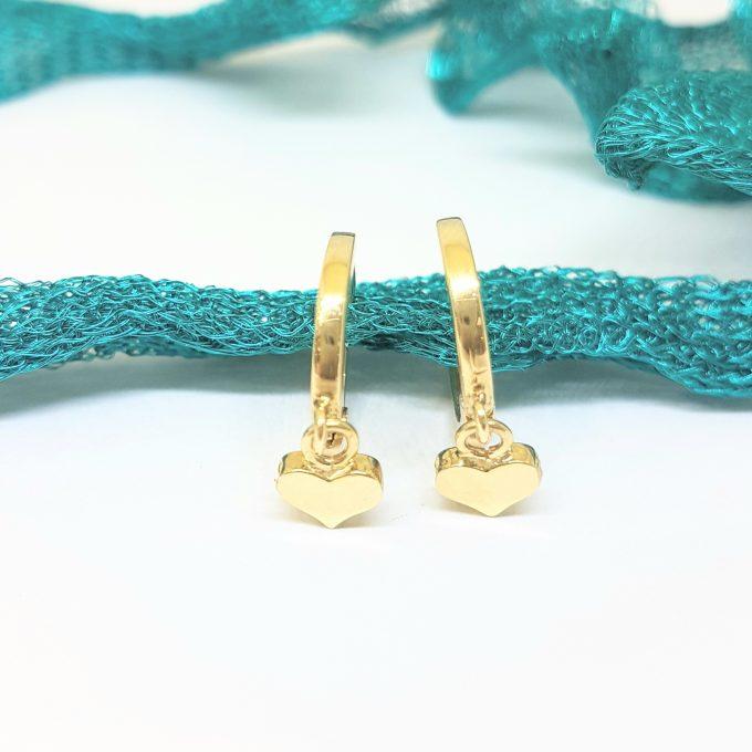 14K Real Solid Gold Heart Drop Dangle Hoop Earrings for Women Tiny Cute Jewelry