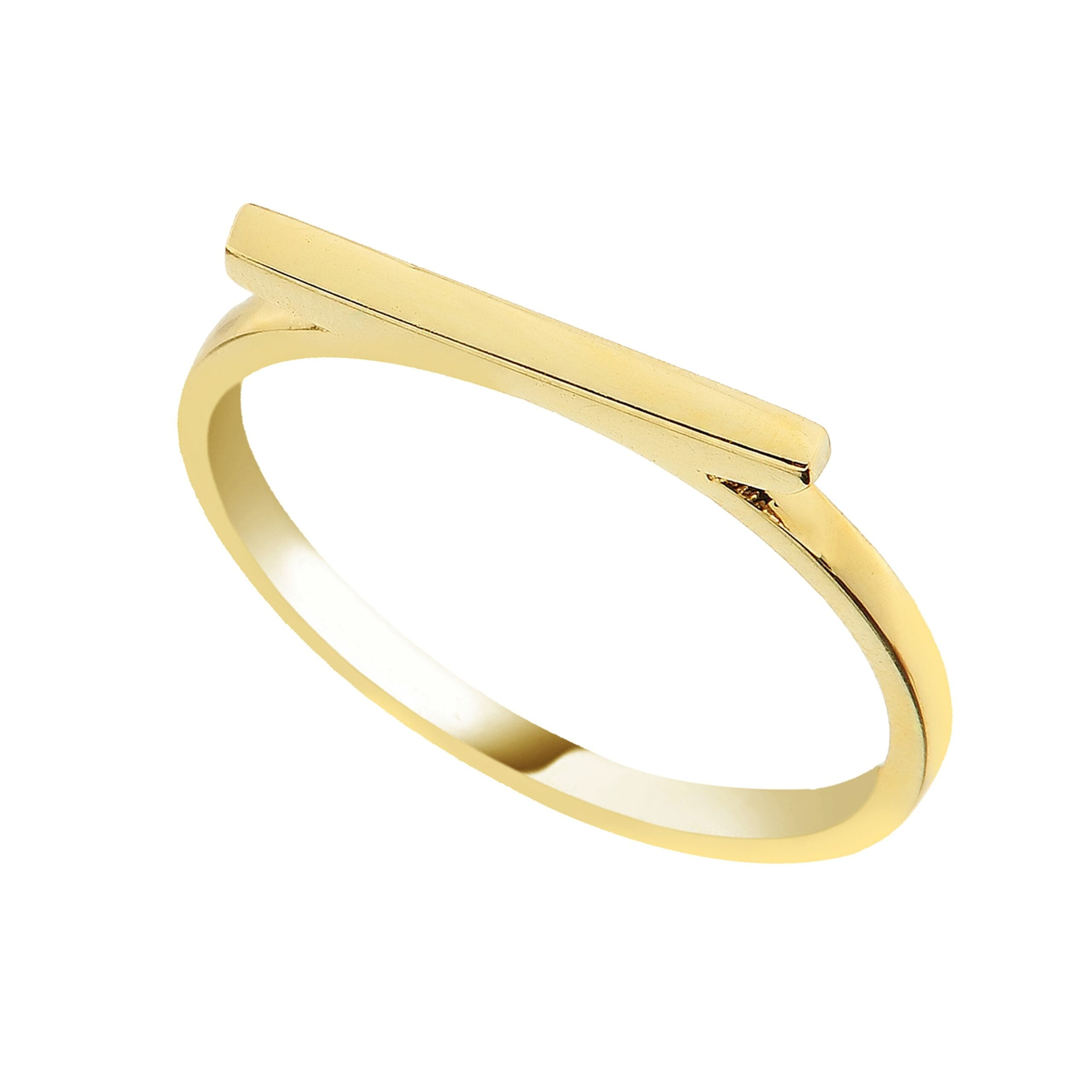 14K Real Solid Gold Long Bar Ring for Women | Flat Bar Rings handmade jewelry birthday gift mother's day christmas xmas valentine's day