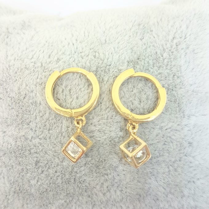 14K Real Solid Gold Square Cube Style Inside Moving Zirconia Stone Drop Dangle Hoop Earrings