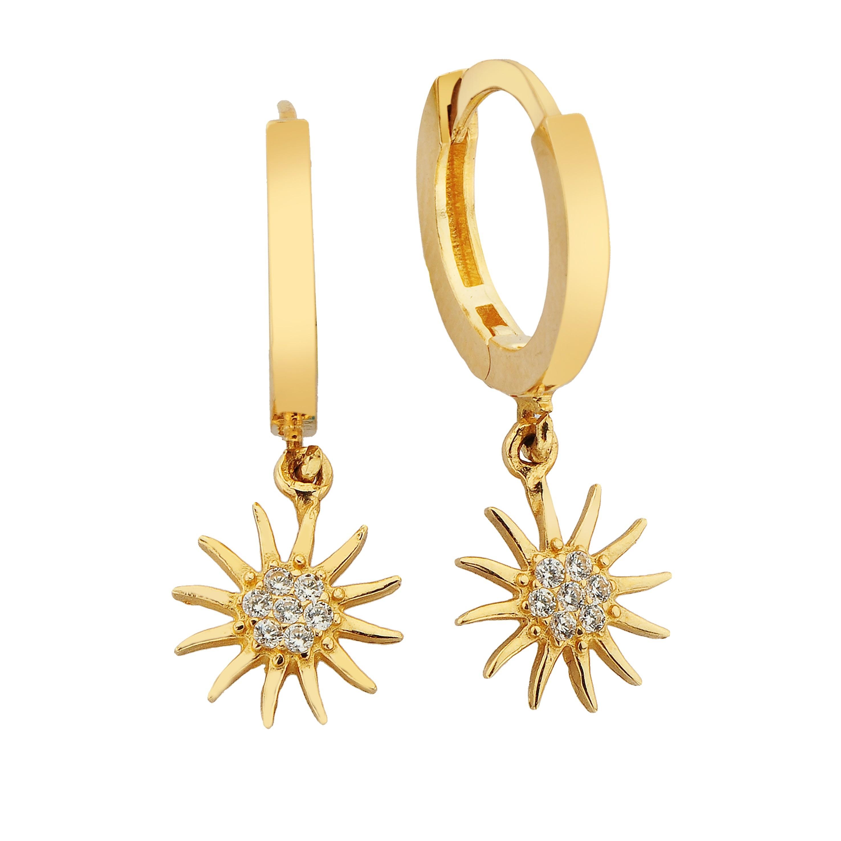 14K Real Solid Gold Sun Dangle Hoops Earrings for Women Christmas xmas handmade jewelry moon gift mother girl zodiac