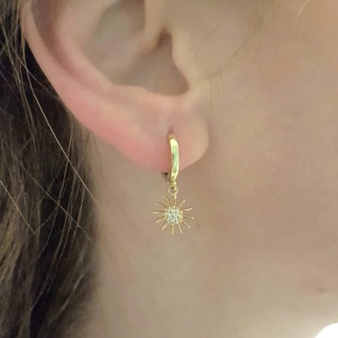 14K Real Solid Gold Sun Drop Dangle Earrings for Women