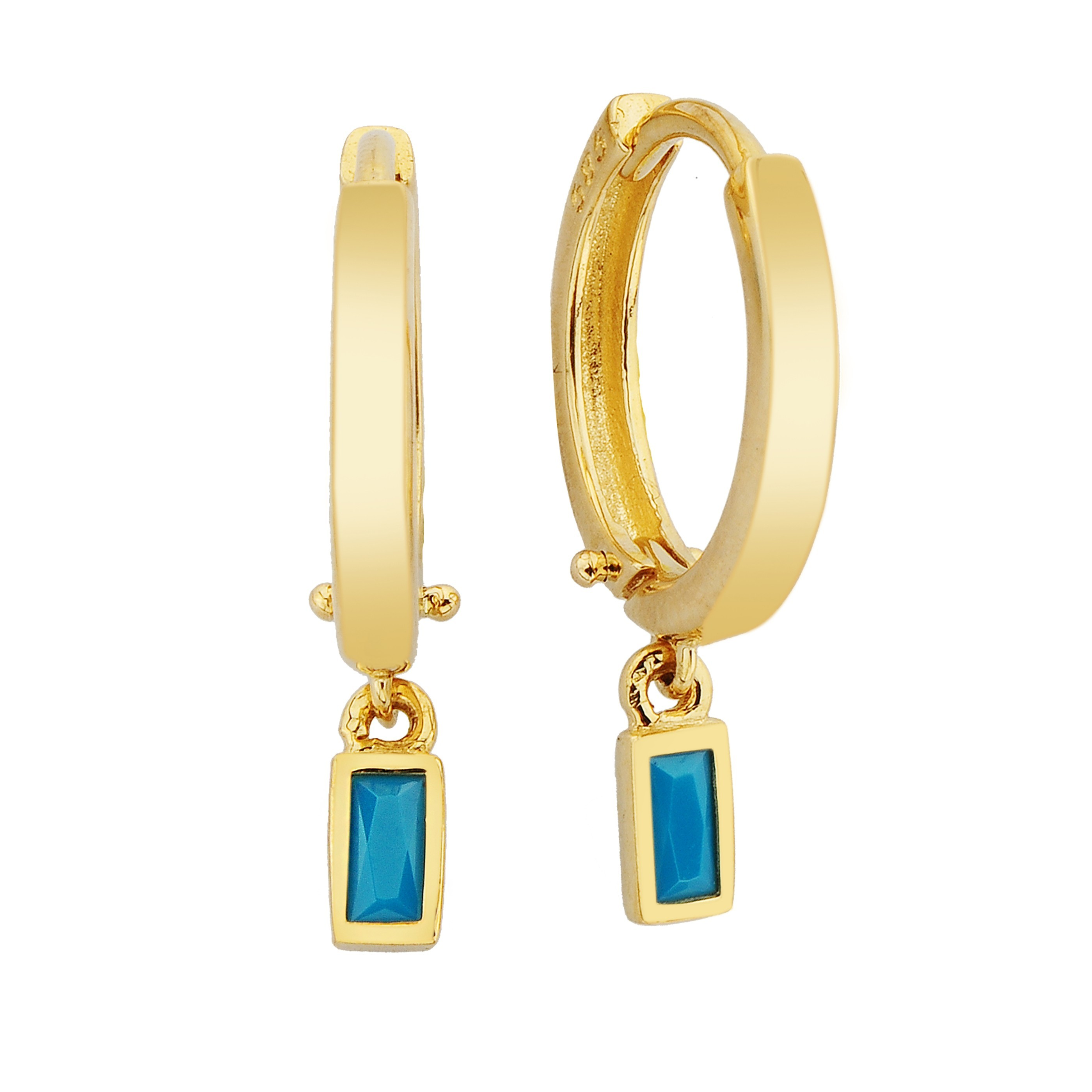 14K Real Solid Gold Turquoise Baguette Dangle Drop Earrings for Women handmade decemver birthstone birthday gift christmas gift xmas mother
