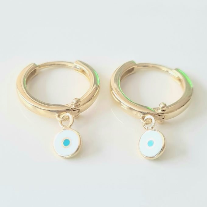 Evil Eye Drop Dangle Earrings for Women Decorated with White and Blue Enamel Lucky Good Luck Jewelry