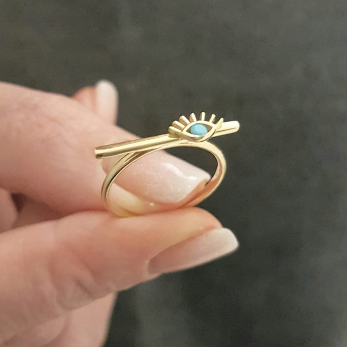 Eyelash Design with Turquoise Stone on Long Bar Ring for Women 14K Real Solid Gold December Birthstone Jewelry