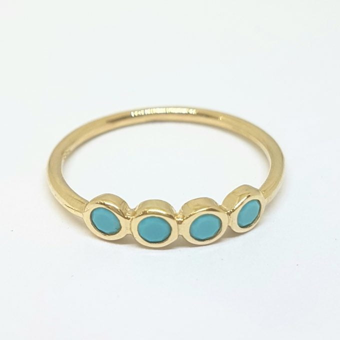 Four Turquoise Stone Ring for Women 14K Real Solid Gold December Birthstone Jewelry
