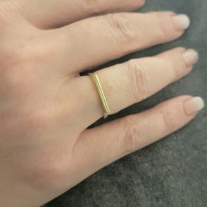 Long Bar Ring for Women 14K Real Solid Gold