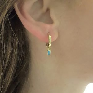 Turquoise Baguette Dangle Drop Earrings for Women 14K Gold December Birthstone Birthday Gift Jewelry