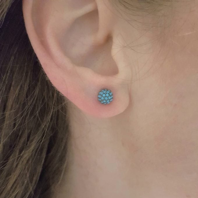 Turquoise Stud Earrings 6mm 14K Gold jewelry for Women Round Ball Design