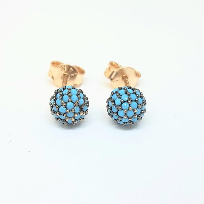 Turquoise Stud Earrings 6mm 14K Gold jewelry for Women Round Ball Design, Best Birthday Gift