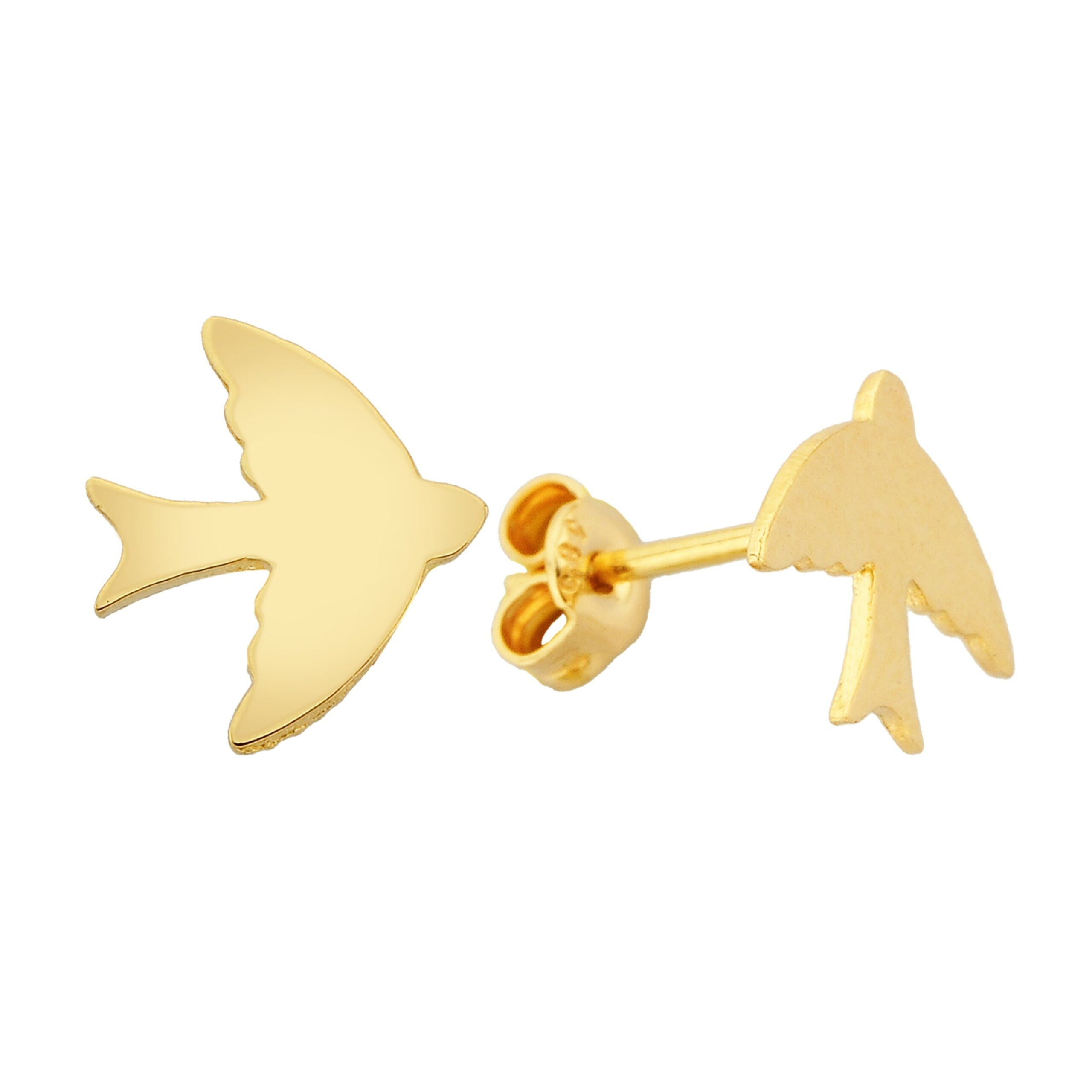 14K Real Solid Gold Swallow Stud Earrings for Women Bird Studs Jewelry Birthday gift Animal Sparrow Christmas xmas mother girl