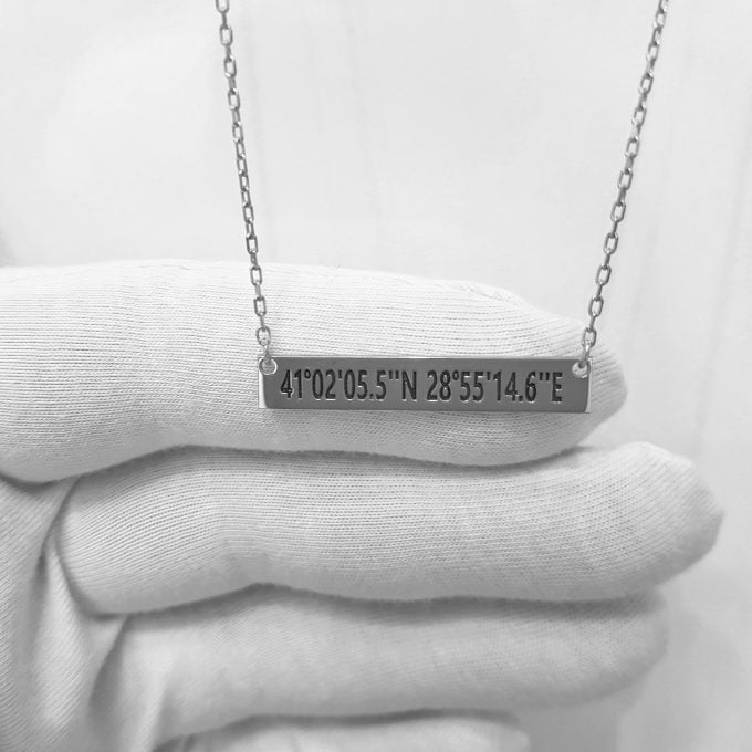 925 Sterling Silver Bar Coordinate Personalized Custom Name Necklace , Family Necklace , Birthday Necklace