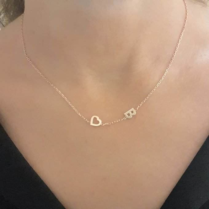 925 Sterling Silver Sideway Heart Initial Necklace , Silver Heart Letter Necklace , Custom Letter Necklace , Initial Birthday Gift for Women
